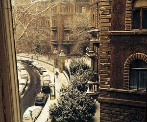 budapest, hungary, and snow image