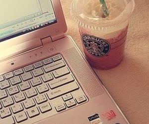 starbucks, pink, and laptop image