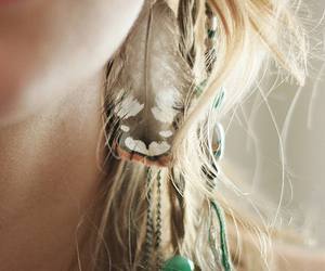 girl, feather, and hair image