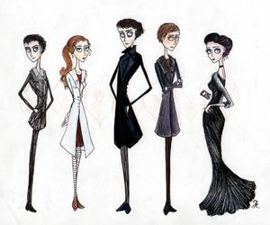 sherlock, tim burton, and drawing image