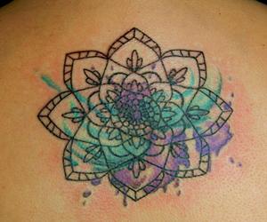 mandala, tattoo, and watercolor image