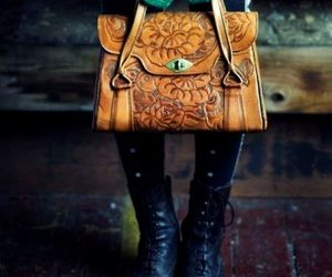 fashion, mittens, and leather bag image