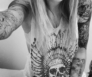 black&white, girl, and Tattoos image