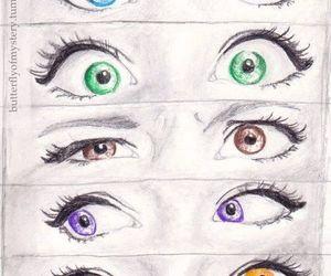 eyes, drawing, and green image