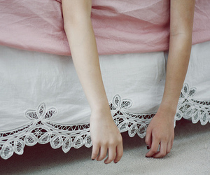 hands, bed, and pink image