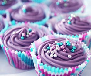 cupcake, purple, and food image