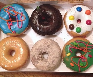 colorful, donuts, and food image