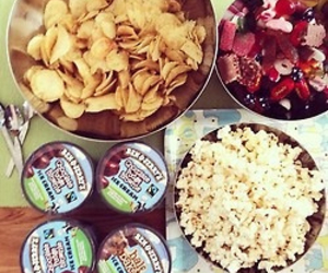 food, chips, and popcorn image