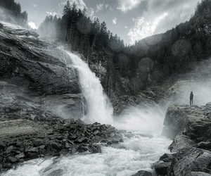 black and white, waterfall, and cliffs image