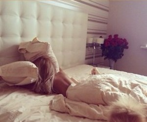 girl, blonde, and bed image