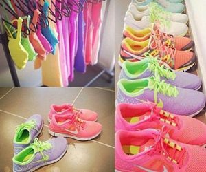 neon colours, shoes, and sneakers image