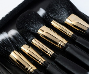 Brushes, makeup, and black image