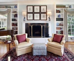 interior design, comfortable family room, and wooden floors image