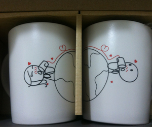 couple, cups, and drink image