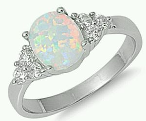 ring, silver, and opal image