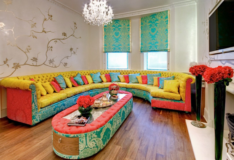 Colorful Living Room Furniture Sofa Cushions Interior Designs For