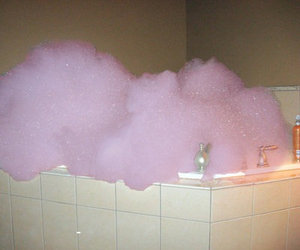 pink, bubbles, and bath image