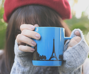 paris, girl, and cup image