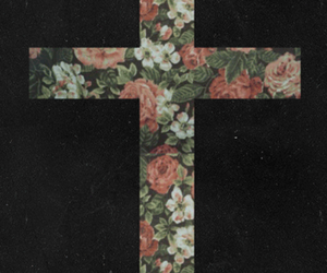 cross, flowers, and black image