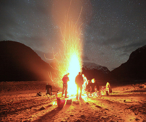 fire, night, and friends image