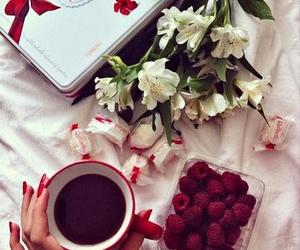 flowers, coffee, and raffaello image