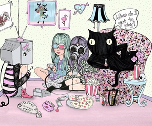 black cat, games, and girl image