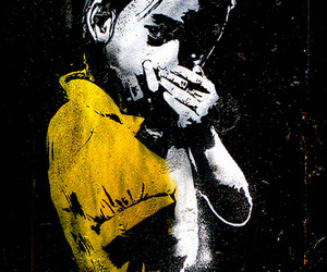 harmonica, kid, and stencil image