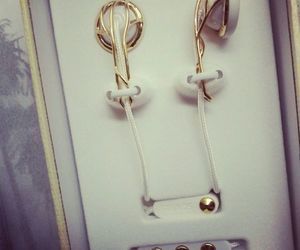 earphones, gold, and headphones image