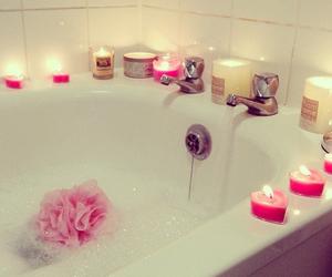 candle, bath, and pink image