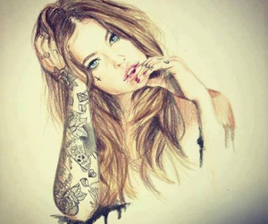 blond hair, Tattoos, and blue eyes image