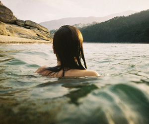 girl, water, and nature image