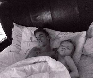 b&w, bieber, and bed image