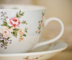 cup, tea, and flowers image