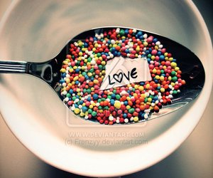 love, spoon, and candy image