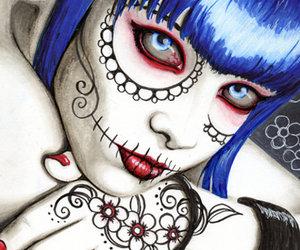 day of the dead, dia de los muertos, and sugar skull image