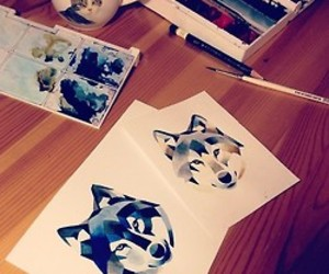 wolf and watercolor image