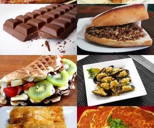 baklava, pizza, and waffle image
