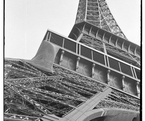 black and white, paris, and eiffel image
