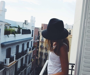 buildings, girl, and hat image