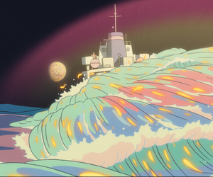 studio ghibli, great sea mother, and ponyo on the cliff by sea image