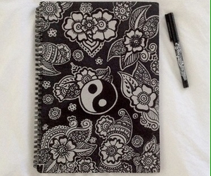 black, art, and flowers image