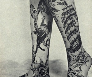 tattoo, legs, and black and white image