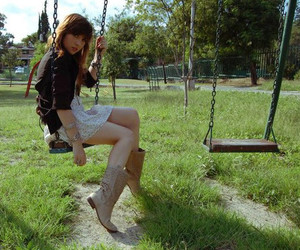 portrait, swings, and cowgirl boots image