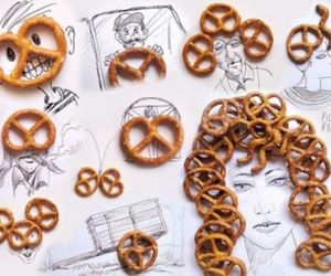 drawing, fun, and pretzel image