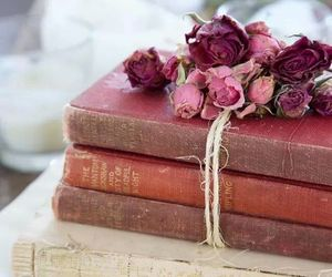 books, Dream, and flowers image