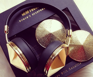 gold, headphones, and music image