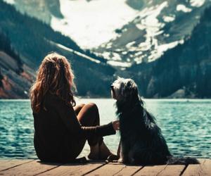 dog, girl, and mountains image