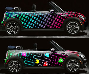 car, pacman, and mini cooper image