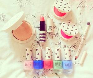 makeup, nails, and lipstick image