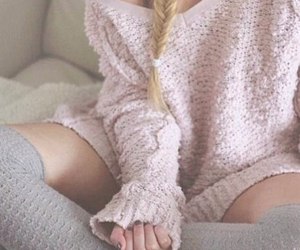 pink, sweater, and hair image